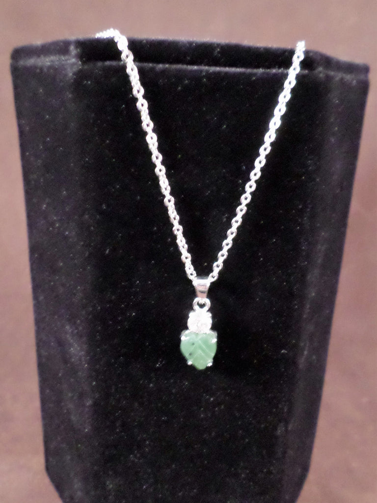 Jade Sparkle Leaf Necklace