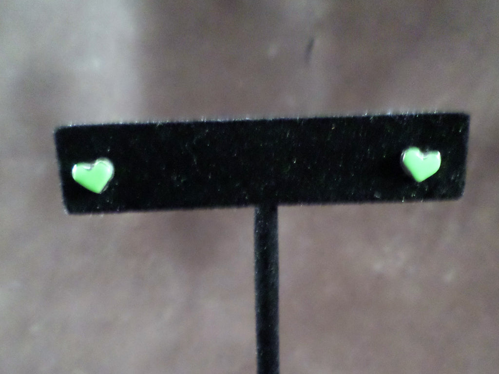 Small Lime Heart Stud Earrings