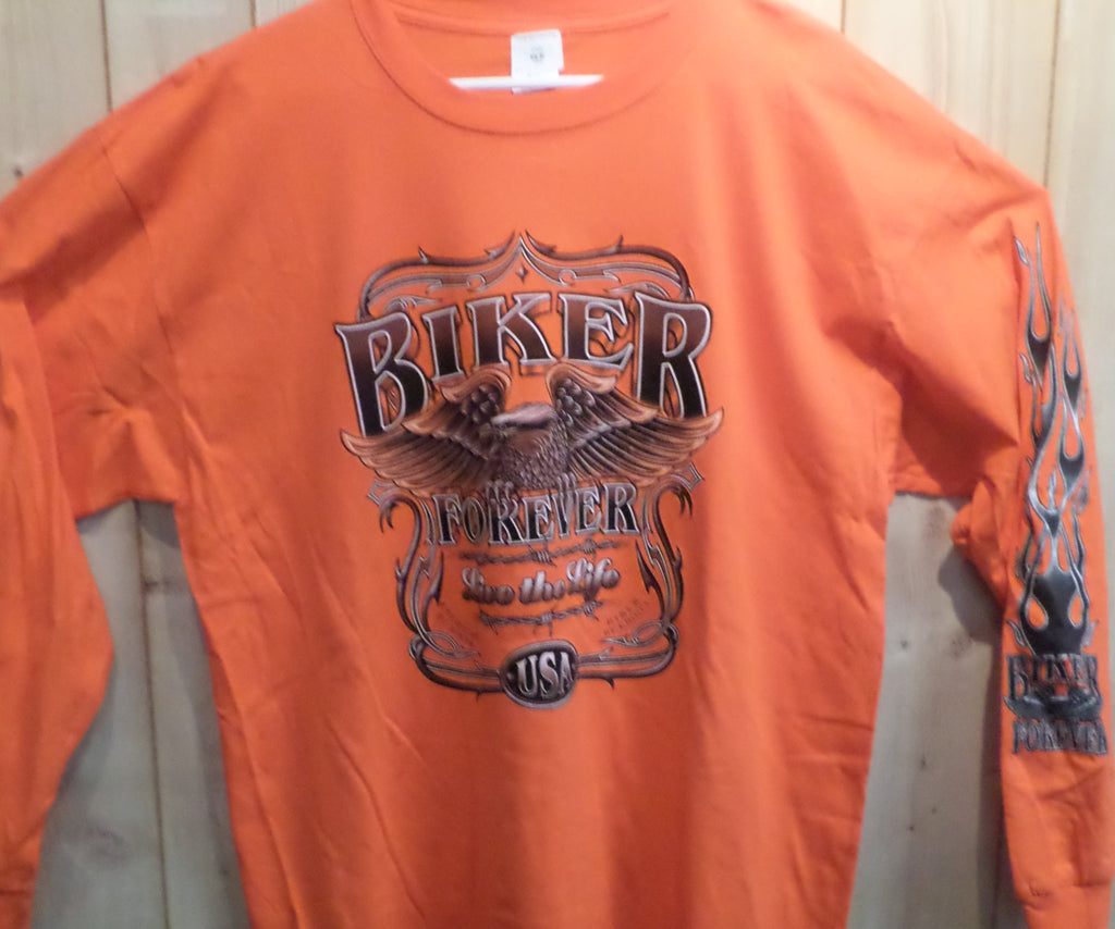 Orange Biker Forever Long Sleeve Shirt