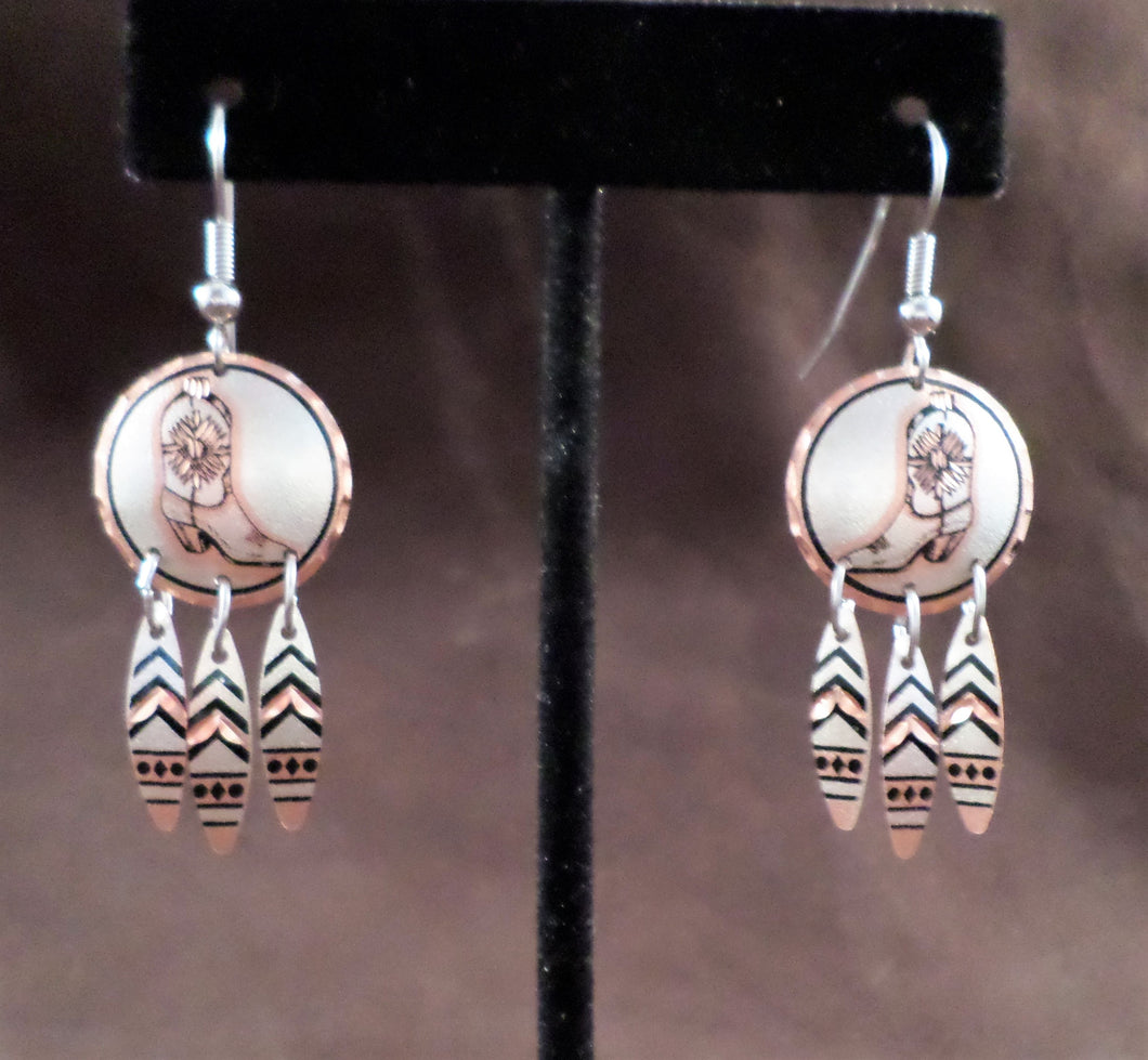 Cowboy Boots Copper Earrings