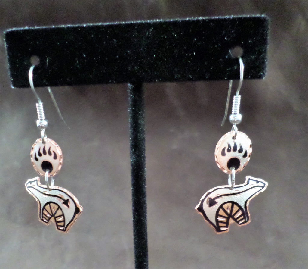 Bear Fetish Copper Earrings