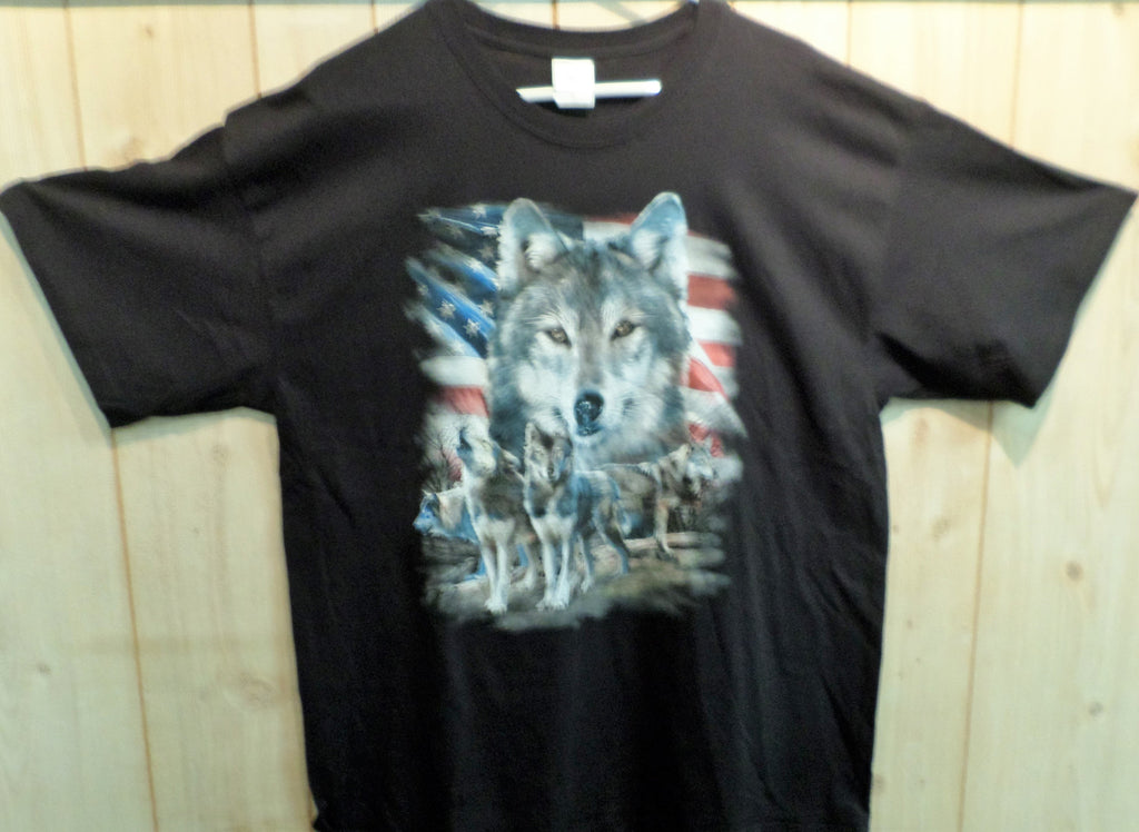 Wolf with American Flag T-Shirt
