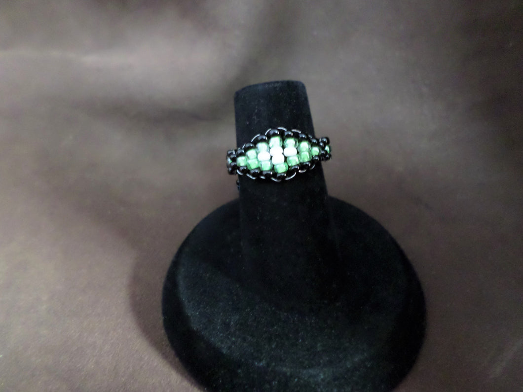 ring pearl bead best images jewelry rings beaded peyote cincin on beadwork seed pinterest beadwoven