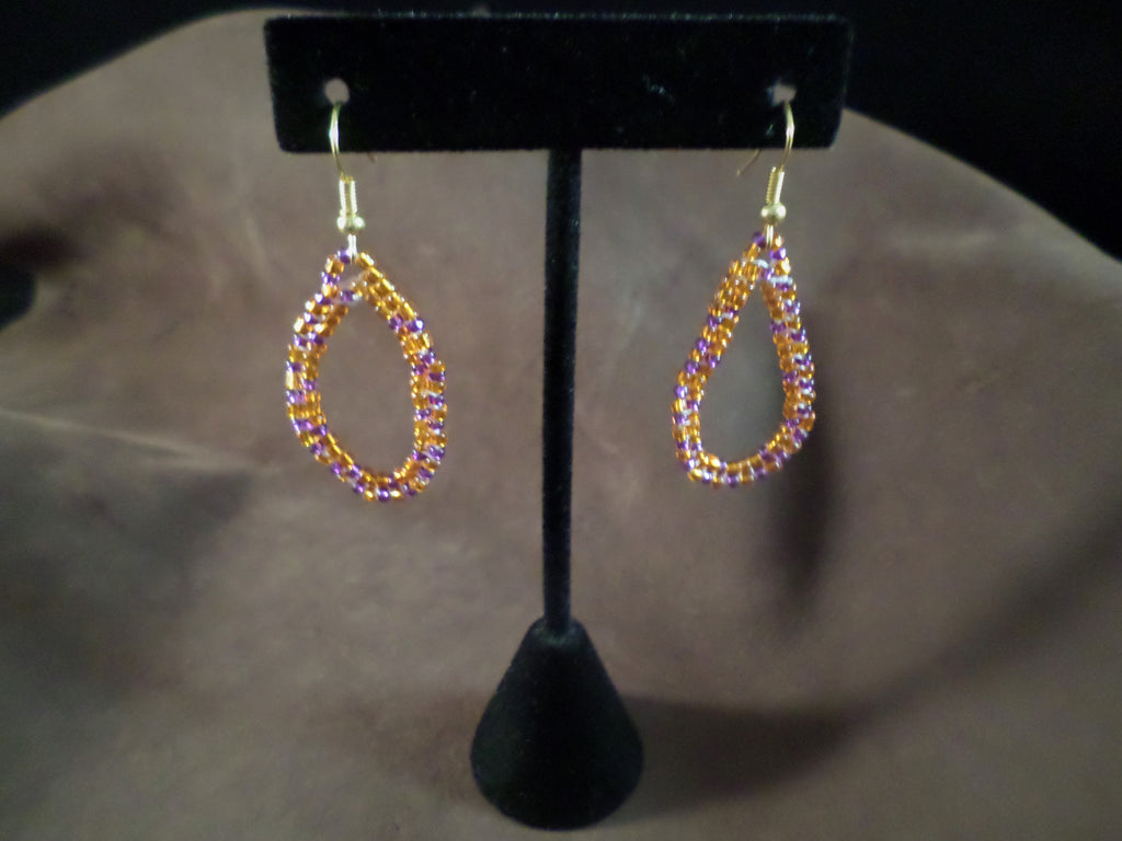 Orange and Purple Circle Earrings