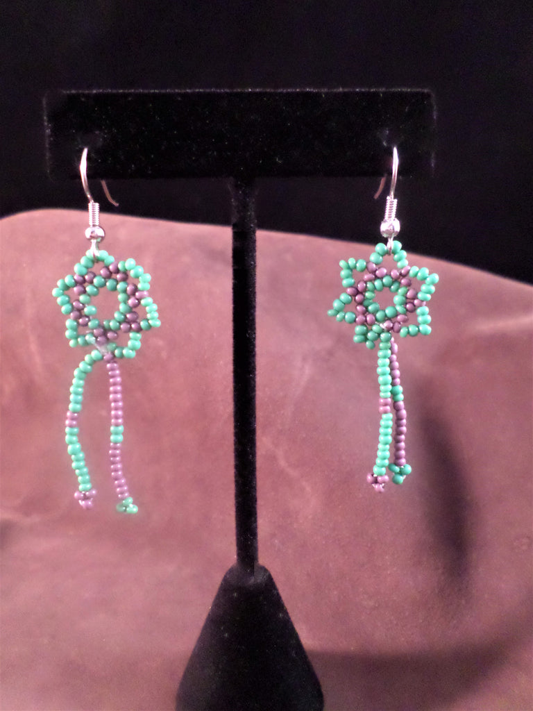 Huichol Lace Star Dangle Earrings