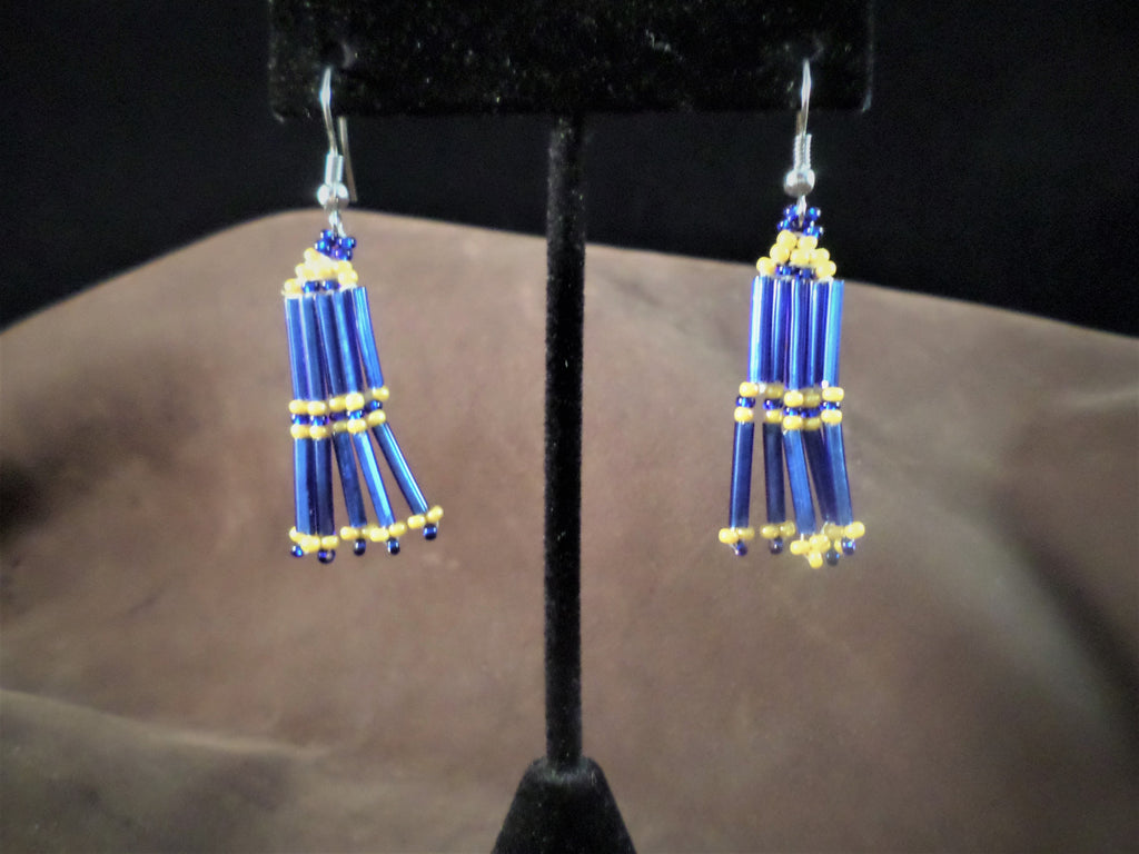 Blue and Yellow Dangle Earrings