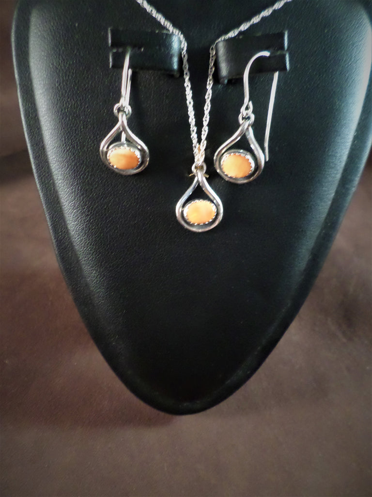 Orange Stone Necklace and Earring Set