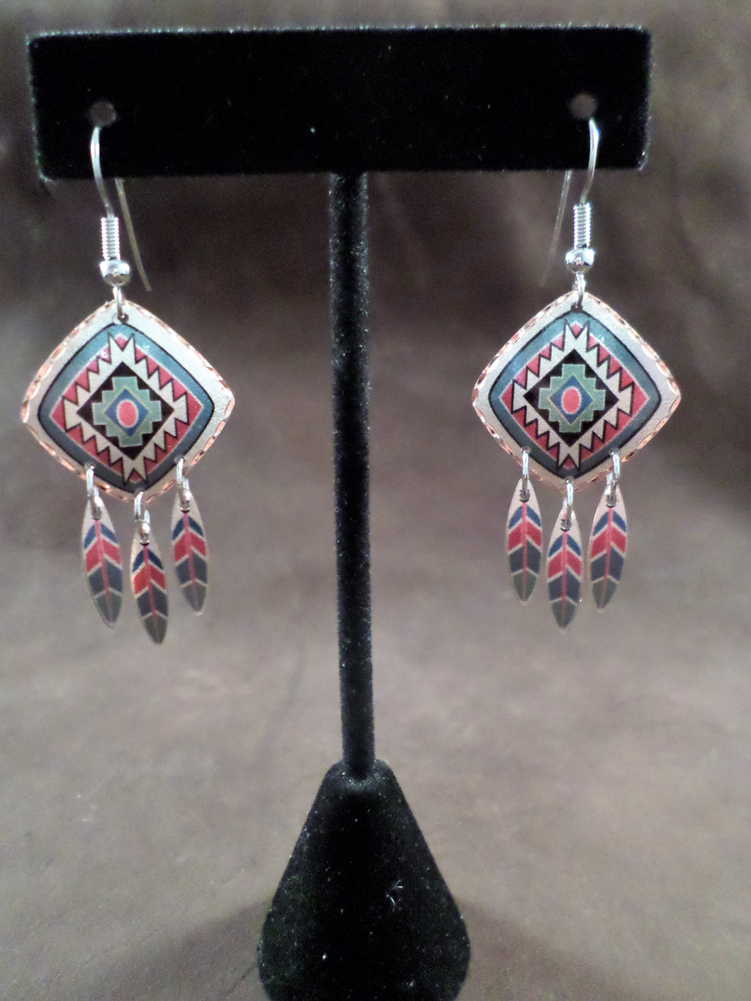 Colorful Southwest Feather Earring
