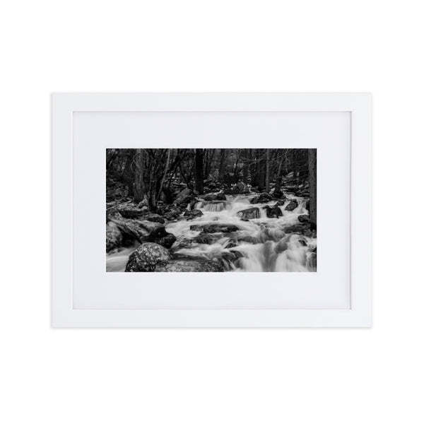 Raging Stream Matte Paper Framed Poster With Mat - Photographer: Aden George-Warren