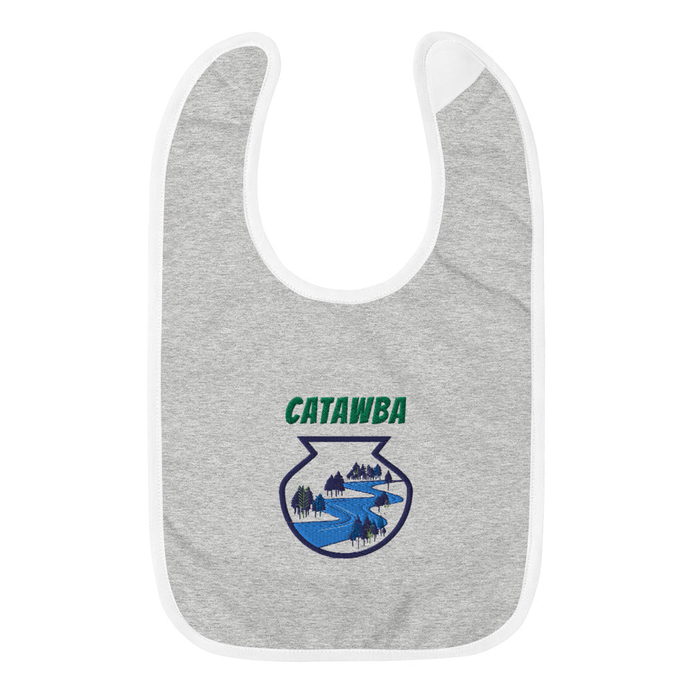 Catawba River Scene Embroidered Baby Bib w/ artwork by Alex Osborn