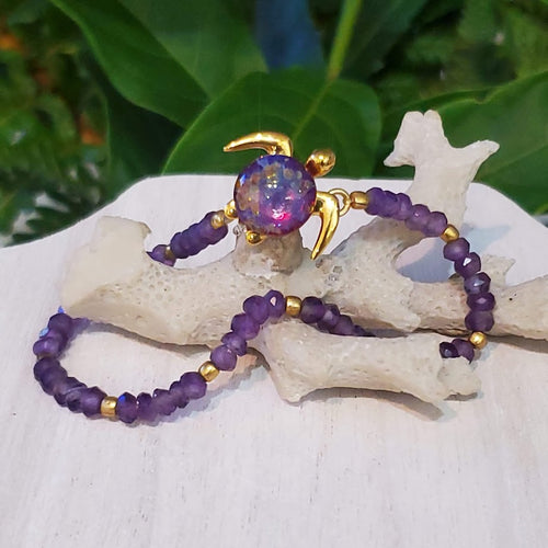 Malama on Amathyst Gemstone Bracelet | The Honu Collection by Amy Wakingwolf