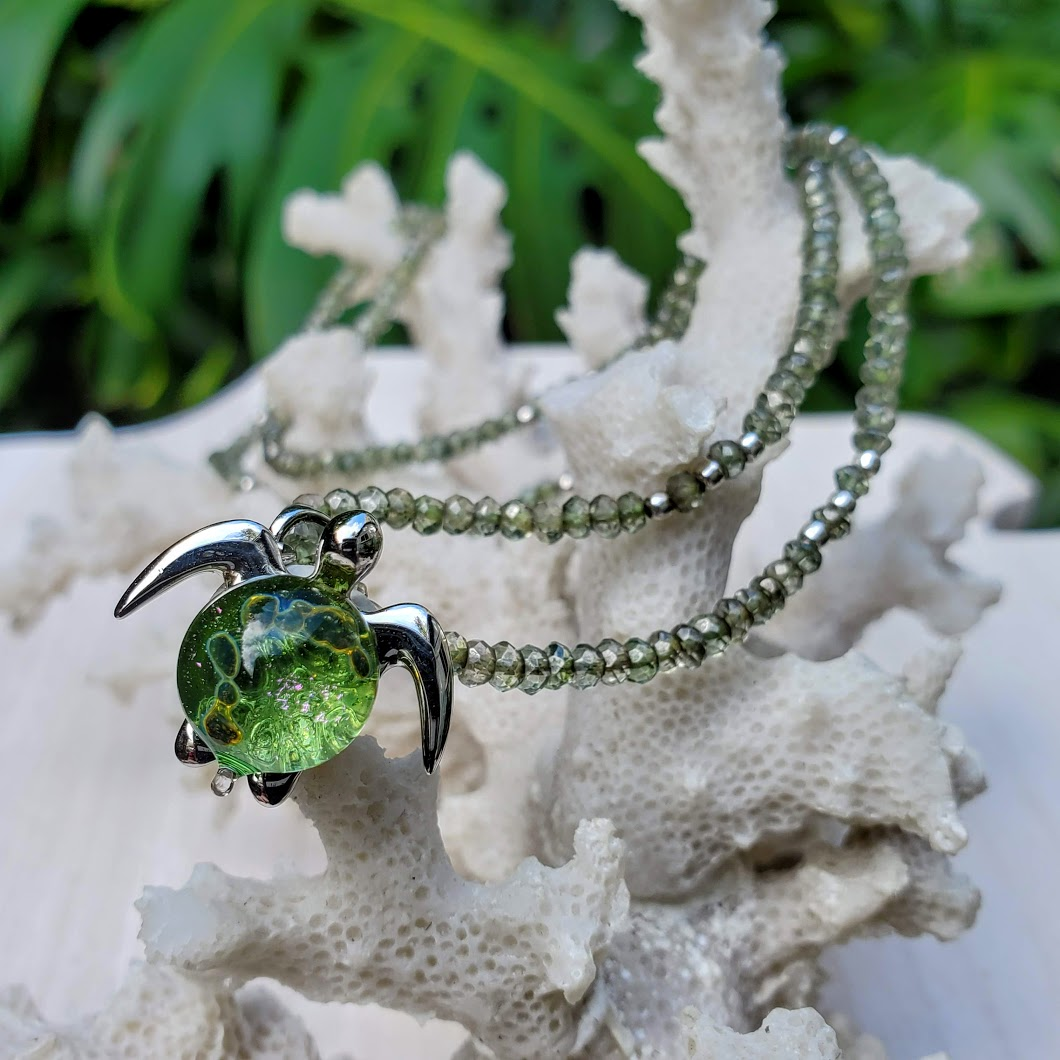 Kalele on Green Apatite Gemstone Necklace | The Honu Collection by Amy Wakingwolf