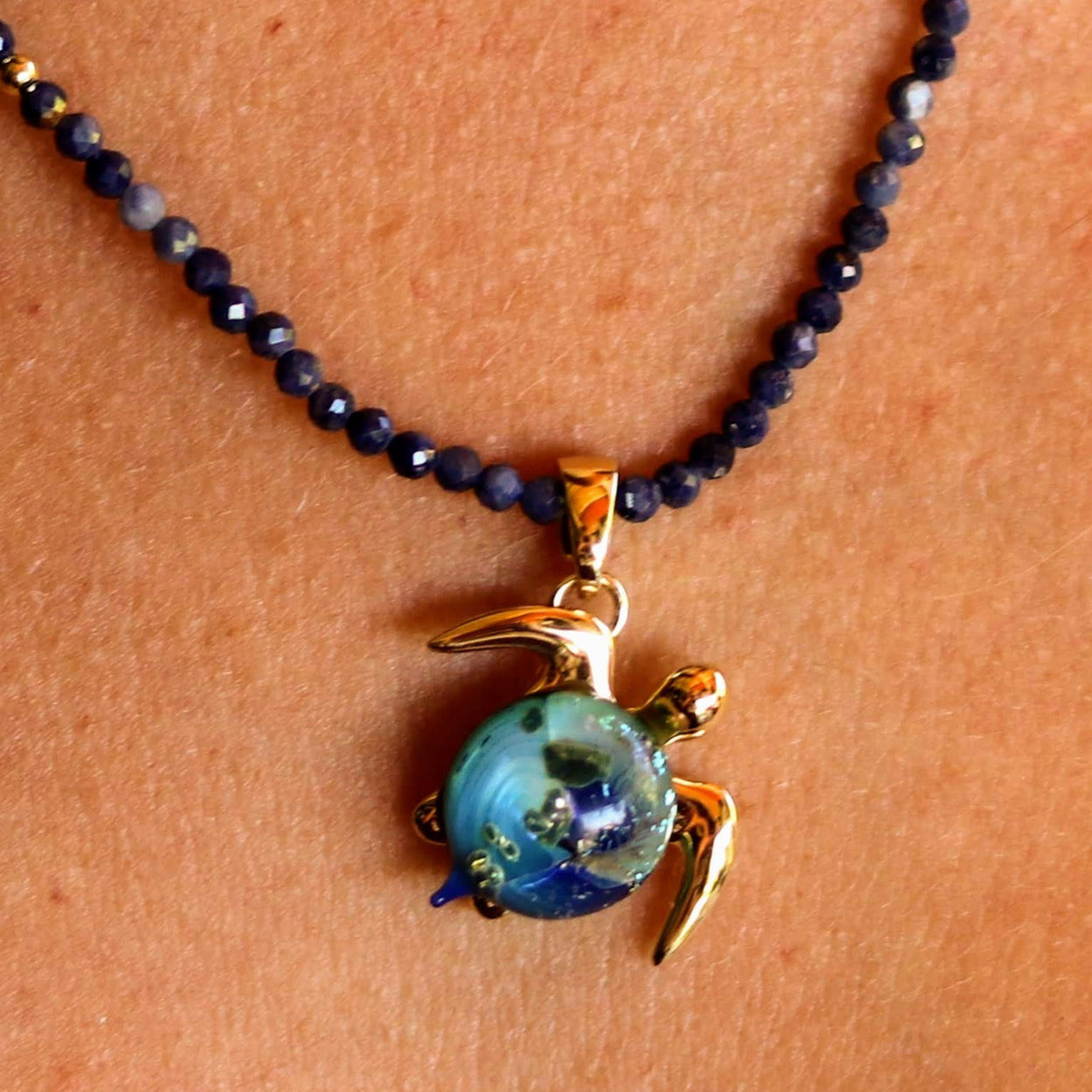 Akoni on Sapphire Gemstone Necklace | The Honu Collection by Amy Wakingwolf