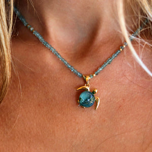 Mahalo on Apatite Gemstone Necklace | The Honu Collection by Amy Wakingwolf