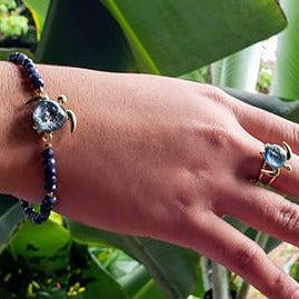 Akoni Sapphire Stretch Bracelet | The Honu Collection by Amy Wakingwolf