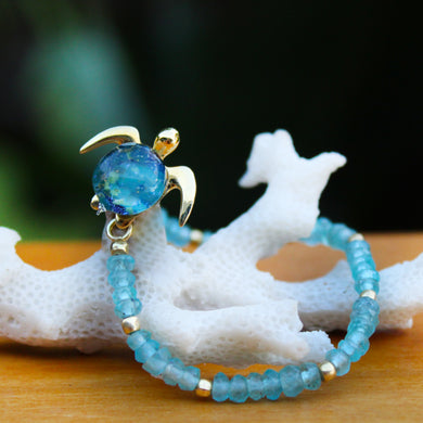 Mahalo on Apatite Gemstone Stretch Bracelet | The Honu Collection by Amy Wakingwolf