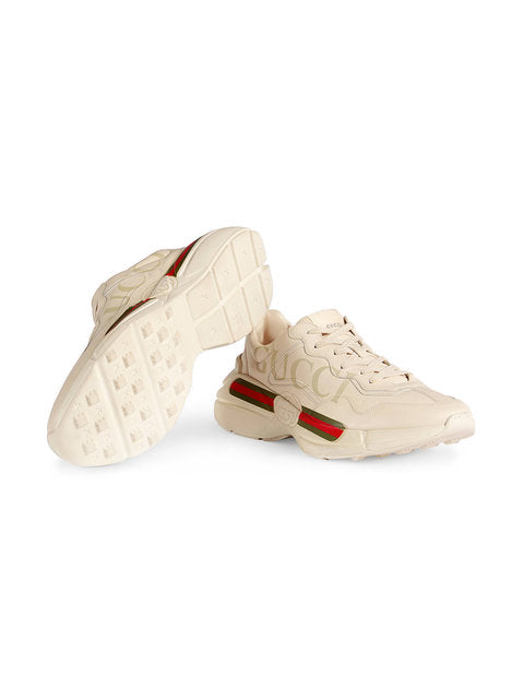 208a9768e Custom Rhyton Gucci Logo Leather Sneaker | Apparel Ace