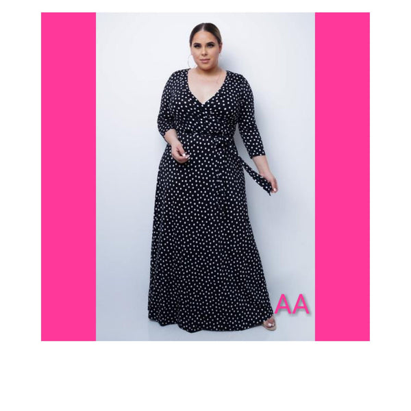 PLUS SIZE BLACK POLKA DOT MAXI DRESS