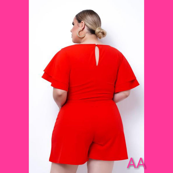 PLUS SIZE RED SHORT ROMPER W/LAYERED SLEEVES