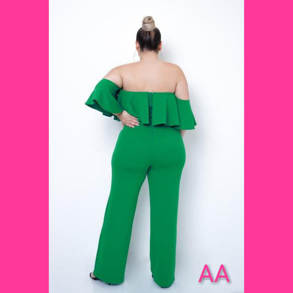 PLUS SIZE GREEN OFF SHOULDER JUMPSUIT