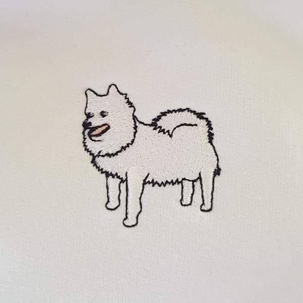 embroidered japanese spitz logo design