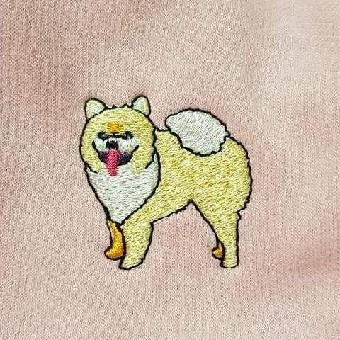 embroidered pomeranian logo design