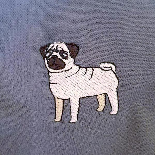 embroidered pug logo design