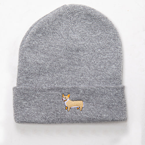 Corgi Beanie - Heather Grey