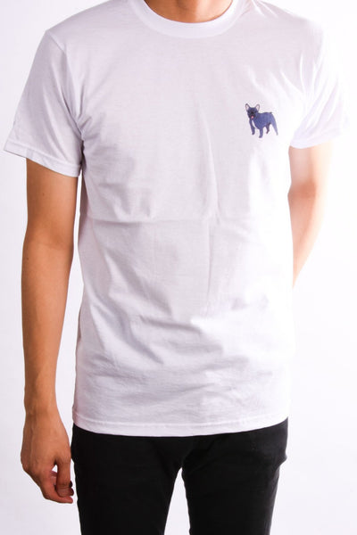 printed french bulldog logo on white t shirt