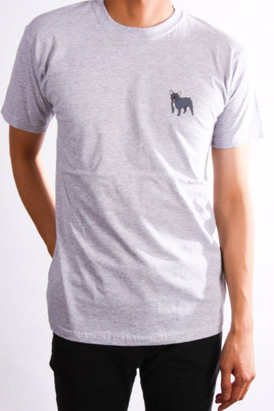 printed french bulldog logo on heather grey t shirt
