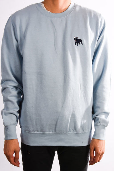 embroidered french bulldog logo on sky blue jumper