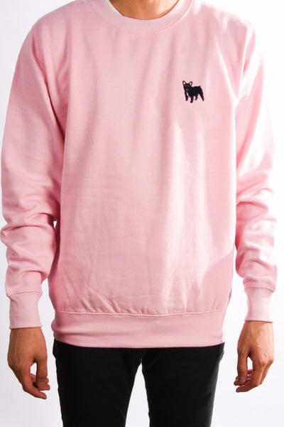 embroidered french bulldog logo on baby pink jumper