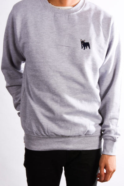 embroidered french bulldog logo on heather grey jumper