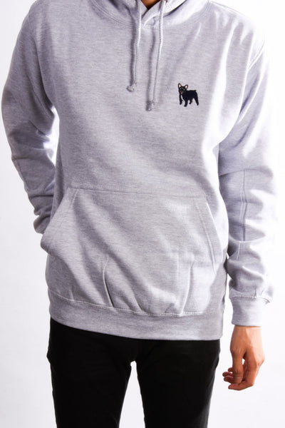 embroidered french bulldog logo on heather grey hoodie