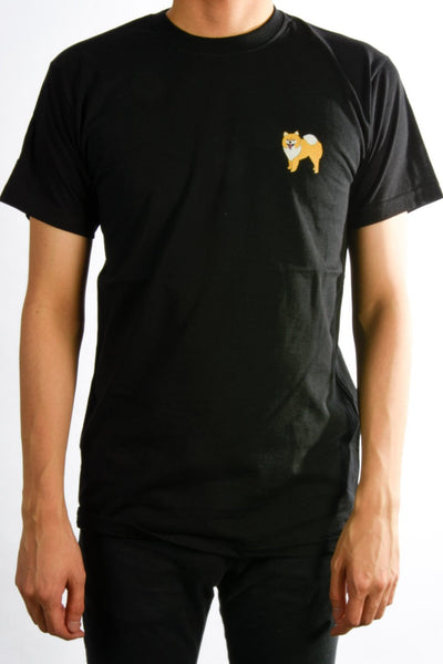 printed pomeranian logo on black t shirt