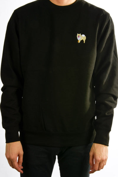 embroidered pomeranian logo on black jumper