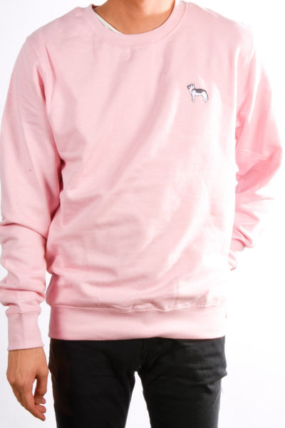 embroidered husky logo on baby pink jumper