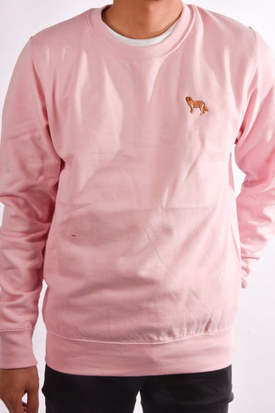 embroidered golden retriever logo on baby pink jumper
