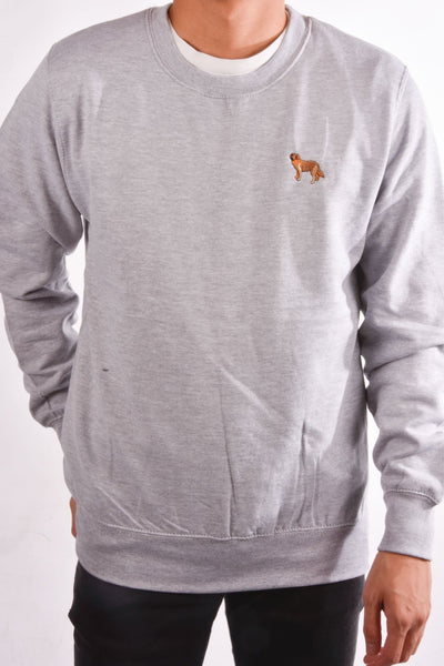 embroidered golden retriever logo on heather grey jumper