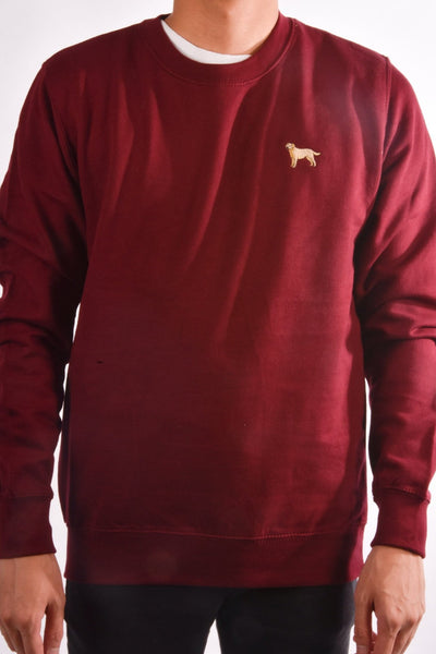 embroidered labrador logo on burgundy jumper