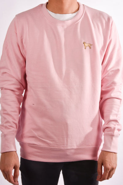 embroidered labrador logo on baby pink jumper