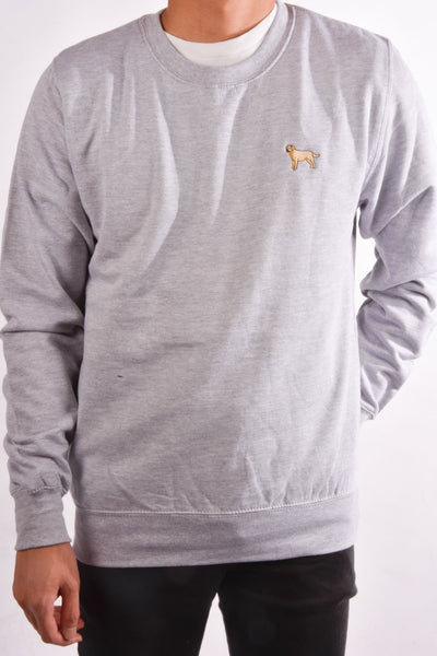 embroidered labrador logo on heather grey jumper