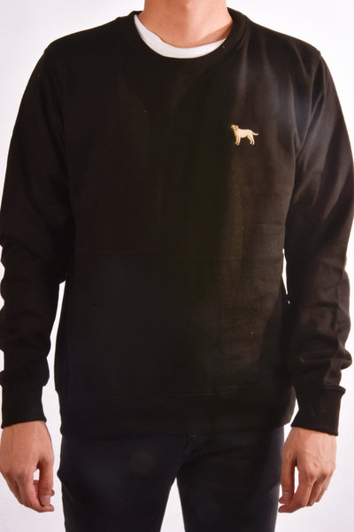 embroidered labrador logo on black jumper