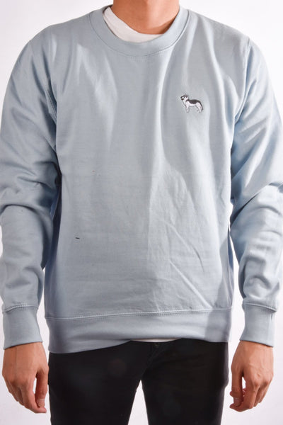 embroidered husky logo on sky blue jumper