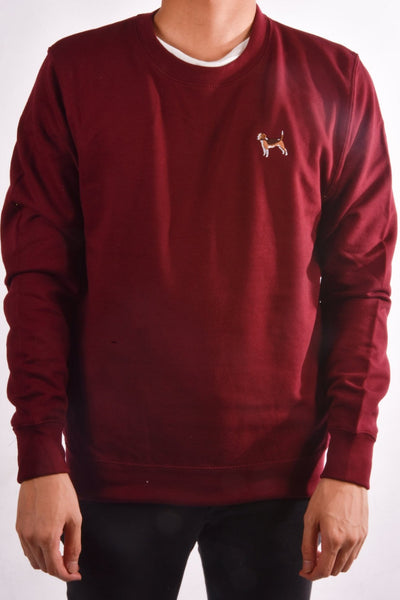 embroidered beagle logo on burgundy jumper