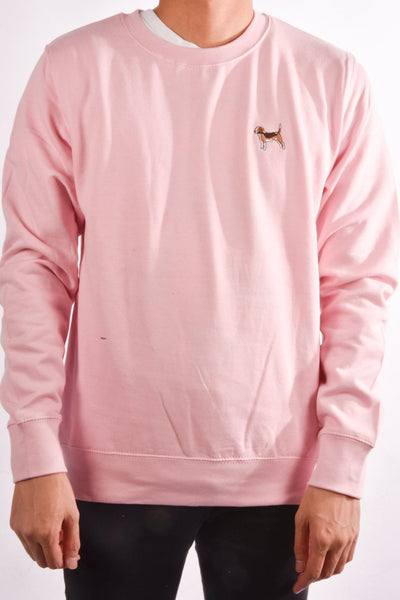 embroidered beagle logo on baby pink jumper