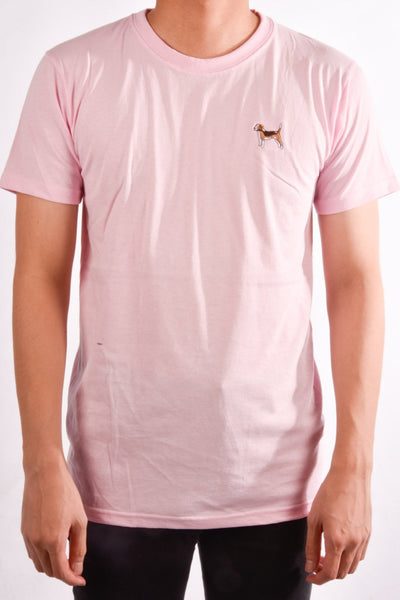 printed beagle logo on light pink t shirt