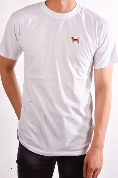 printed beagle logo on white t shirt