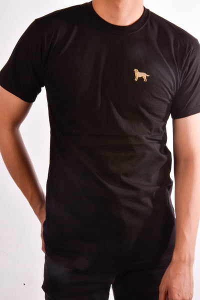 printed labrador logo on black t shirt