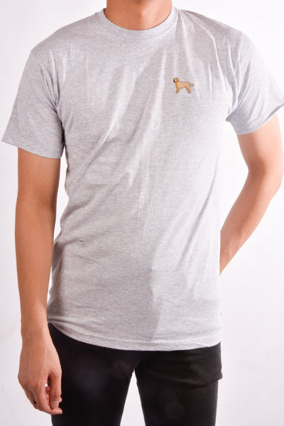 printed labrador logo on heather grey t shirt